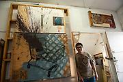 Artist Alejandro Zacarias at his studio in Tijuana, Baja California, Mexico.<br /> <br /> &copy; Stefan Falke<br /> www.stefanfalke.com<br /> La Frontera: Artists along the US Mexican Border