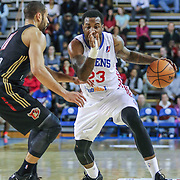 Delaware 87ers Forward Victor Rudd (23) drives past Erie BayHawks Guard Drew Crawford (11) in the first half of a NBA D-league regular season basketball game between the Delaware 87ers and the Erie BayHawk (Orlando magic) Friday, Jan. 02, 2015 at The Bob Carpenter Sports Convocation Center in Newark, DEL