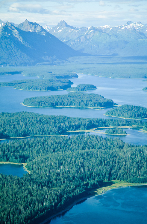 Alaska. Glacier Bay National Park. A series of islands dot the shoreline of Glacier Bay, as glaciers receded leaving them behind.