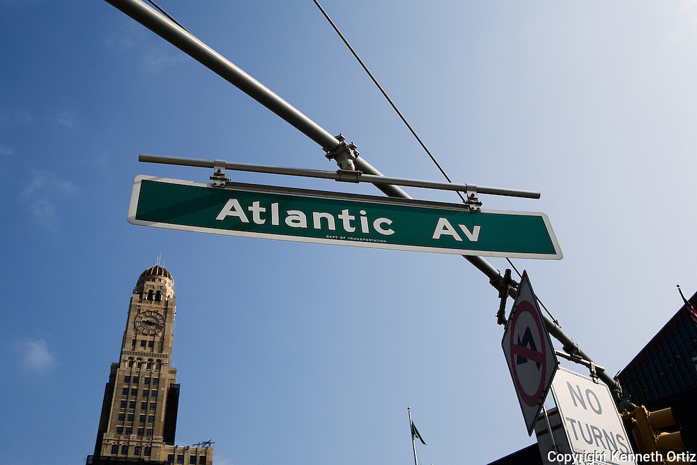 A street sign in Brooklyn at the cross section of Atlantic Avenue and Flatbush Avenue.