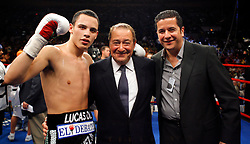 June 5, 2007; New York, NY, USA;  Julio Cesar Chavez Jr. (l) poses with promoter Bob Arum (center) after his 10 round bout against Grover Wiley at Madison Square Garden in New York City.