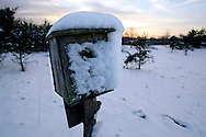 Snow covered Birdhouse Waushara County, Wisconsin.