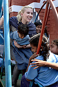 Scarlett plays with children from the Purvaiachal dalit Balika school in Ghazipur district.