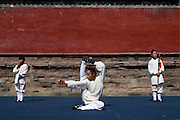 Asia, China, Hubei province. A demonstration of Woudang mountain style martial arts at a special stage on Wudang moutain (Wudang-san), a World Heritage mountain with many Taoist monasteries.