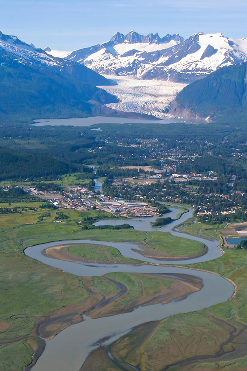 An aerial view of the Mendenhall River and Glacier and Juneau.