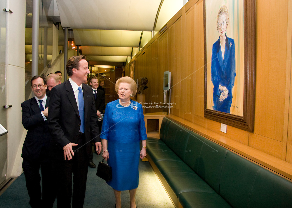 Conservative Party photographs - lady thatcher visits the house of commons and meets david cameron and other ex cabinet members and ex leaders