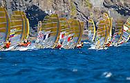 Portugal, Funchal, Madeira :  European Windsurfing Championships in the bay of Funchal on the Portuguese archipelago of Madeira.Photo Gregorio Cunha .Campeonato da Europa de windsuf, classe RSX, na baia da cidade do Funchal,  Iha da Madeira, Portugal..Foto Gregorio Cunha