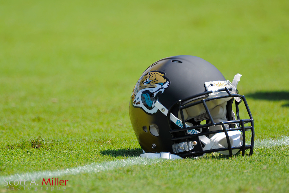 A Jacksonville Jaguars helmets sits not he field during the Jags 28-2 loss to the Kansas City Chiefs at EverBank Field on Sept. 8, 2013 in Jacksonville, Florida. The <br /> <br /> &copy;2013 Scott A. Miller