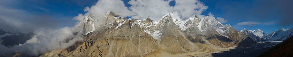 The Bhagirathi peaks tower above the Gangotri Glacier. Bhagirathi, a Sagar Dynasty prince, brought the Ganges to life in Hindu mythology. In its upper reaches, the Ganges is called the Bhagirathi River (until it joins with the Alaknanda at Devprayag.)