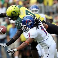 Boise State cornerback Kyle Wilson breaks up a pass intended for Oregon wide receiver Drew Davis at Autzen Stadium in Eugene, OR.