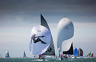 Image licensed to Lloyd Images <br /> Aberdeen Asset Management Cowes Week 2015. Day 2 of racing, picture shows the 8metre classic GBR &quot;007&quot; racing downwind<br /> <br /> Credit: Lloyd Images