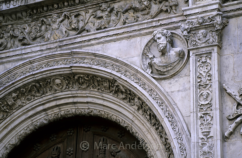 Sculpted details on the Ayuntamiento (Town Hall), Sevilla, Spain