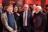 11 FEB 2017, BERLIN/GERMANY:<br /> Elke Buedenbender, Ehefrau von Steinmeier, Iris Berben, Schauspielerin, Frank-Walter Steinmeier, SPD, Kandidat fuer das Amt des Bundespraesidenten, und Mario Adorf, Schauspieler, (v.L.n.R.), waehrend einem Empfang der SPD anl. der Bundesversammlung, Westhafen Event und Convention Center<br />  IMAGE: 20170211-03-029<br /> KEYWORDS: Elke B&uuml;denbender