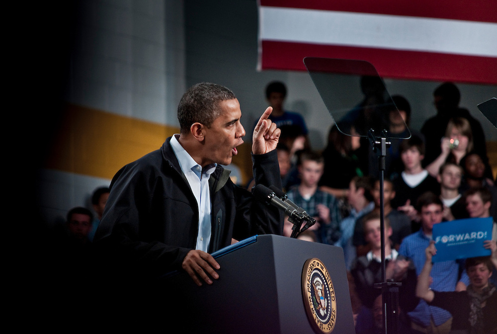 President Obama during a campaign event in Springfield, Ohio