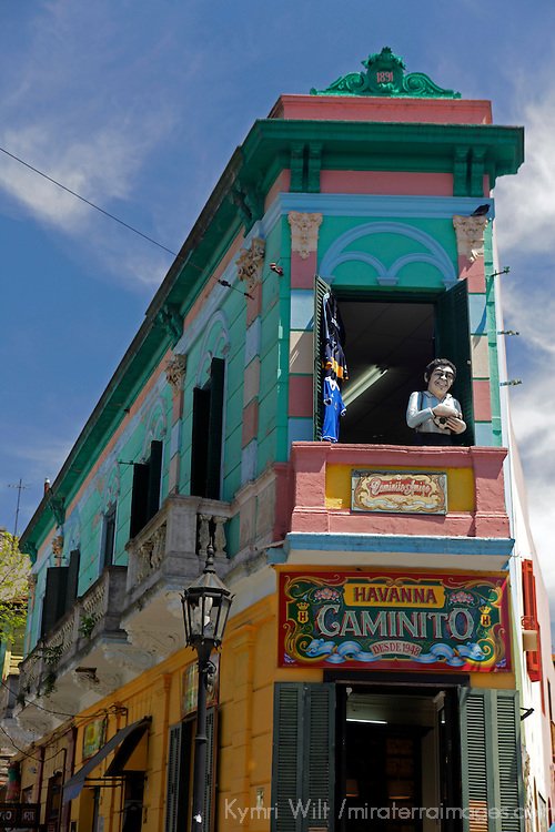 South America, Argentina, Buenos Aires. Landmark building on corner of Havana Caminito in La Boca.