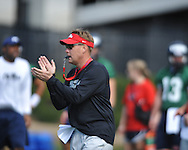 Ole Miss head coach Hugh Freeze at practice in Oxford, Miss. on Friday, March 23, 2012. (AP Photo/Oxford Eagle, Bruce Newman)