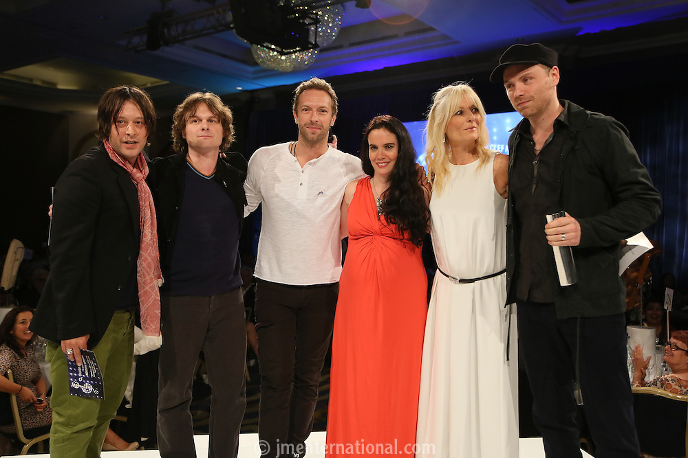 (L-R) Simon Jones - The Verve, Nick McCabe - The Verve,  Chris Martin -(Coldplay), Lucy Noble - RAH,  Gabby Roslin, Jonny Buckland (Coldplay). The Silver Clef Lunch 2013 in aid of  Nordoff Robbins held at the London Hilton, Park Lane, London.<br /> Friday, June 28, 2013 (Photo/John Marshall JME)
