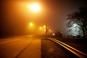 A fog settles over Athens, Ohio late at night.