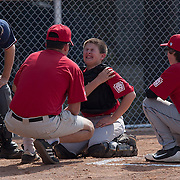 04/14/12 Newark Del. Angels catcher Kyle Blevins #13 gesture in pain after getting hit in the left shoulder in the second inning of a Canal L.L. League game against the Yankees Saturday, April. 14, 2012 at Canal L.L. Complex in Bear Delaware...Special to The News Journal/SAQUAN STIMPSON