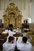 Israel, Coastal Plains, Bnei Brak Hanukkah service at a Synagogue