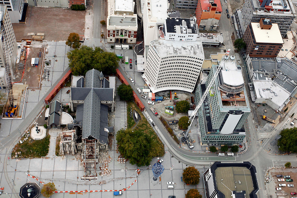 Aerial view of the earthquake damaged Christ Church Cathedral, BNZ building on right, Christchurch, New Zealand, Tuesday, 20 March, 2012.  Credit:SNPA / Pam Johnson