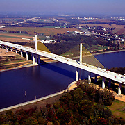 Aerial view of Delaware RT. 1 and new St. Georges Bridge over C&D Canal