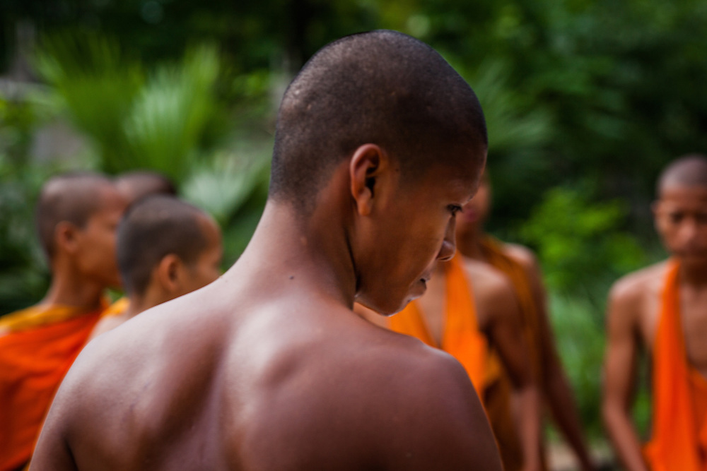Khmer monks at a monastery in Chau Doc, Vietnam, near the Border with Cambodia.