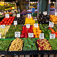 WA09565-00...WASHINGTON - Fruit and vegetable stand at the Pike Place Market in Seattle.