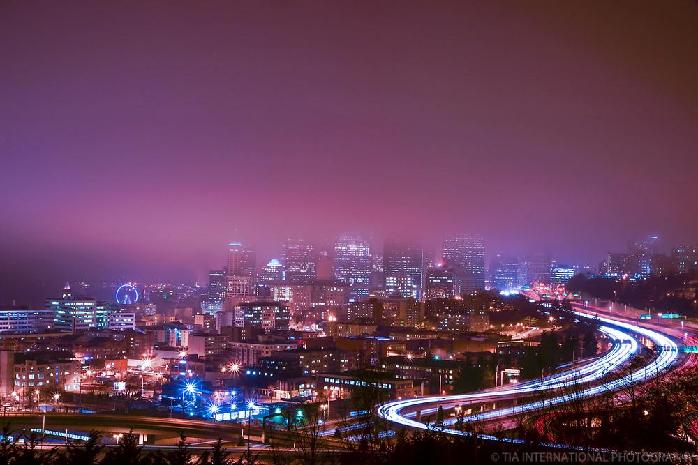"Seattle skyline (a.k.a. ""fogline"") during the city's Fog Affair of January & February 2013."