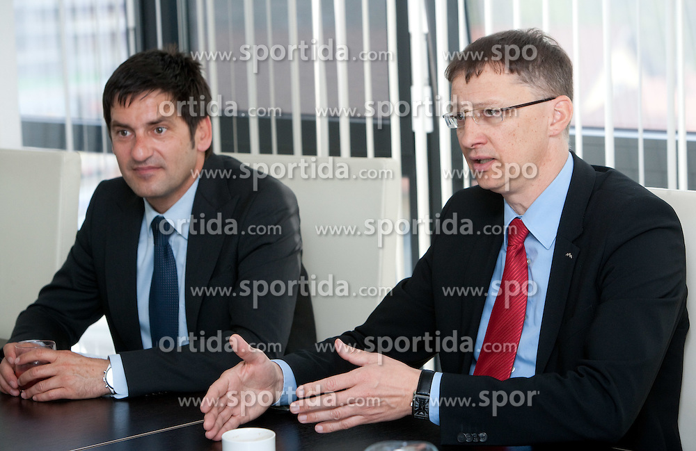 Marko Rajster and Igor Luksic at reception of successful cross-country skier Petra Majdic of Slovenia after the end of her sports career at Slovenian Minister for Sport and Education, on April 18, 2011 in MSS, Ljubljana, Slovenia.  (Photo By Vid Ponikvar / Sportida.com)