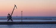 A lone crane on the quay in the Black Sea port of Novorossiysk.