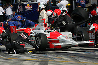 Helio Castroneves pits at the Homestead-Miami Speedway, Toyota Indy 300, March 6, 2005