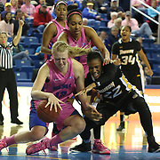Delaware Forward Hannah Jardine (12), Towson Tigers Guard Tanisha McTiller (22) and Delaware Center Kelsey Buchanan (13) battles for the loose ball in the second half of a NCAA regular season Colonial Athletic Association conference game between Delaware and The Towson Tigers Sunday, Feb 16, 2014 at The Bob Carpenter Sports Convocation Center in Newark Delaware.