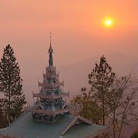 Sunset view, Pagoda on hill at Wat Phra That Doi Kong Mu, Mae Hong Son, Thailand