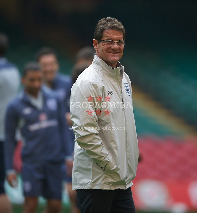 CARDIFF, WALES - Friday, March 25, 2011: England's head coach Fabio Capello during a training session at the Millennium Stadium ahead of the UEFA Euro 2012 qualifying Group G match against England. (Photo by David Rawcliffe/Propaganda)