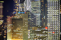 Hong Kong buildings and skyscrapers at night, Kowloon, Hong Kong, China.