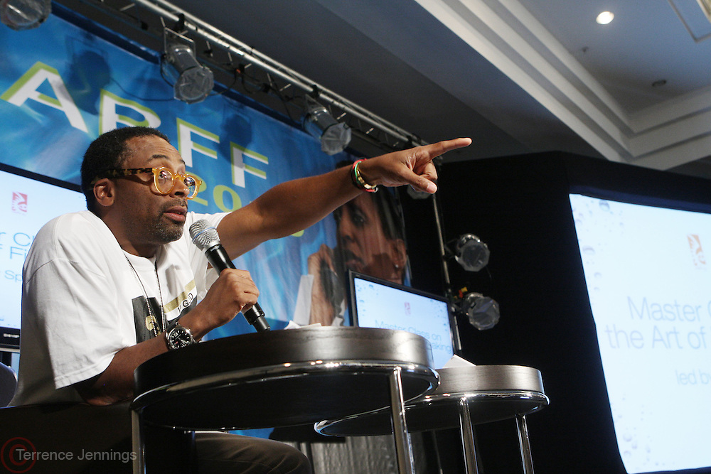 26 June 2010-Miami Beach, Fla- Spike Lee speaks at his Master Class on the Art of Filmmaking at the 2010 American Black Film Festival held at The Ritz Carlton on June 26, 2010 in South Beach, Miami Beach, Florida. Photo Credit: Terrence Jennings/Sipa