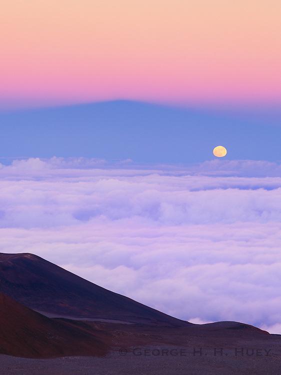 0860-1032B ~ Copyright:  George H. H. Huey ~ Moonrise over 14,000 foot Mauna Kea at dusk.  The Big Island, Hawaii.