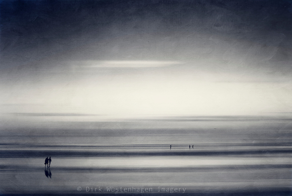 Abstraction of people taking a walk on the beach. Manipulated photography.<br /> <br /> Prints &amp; more: http://society6.com/DirkWuestenhagenImagery/new-start-V78_Print