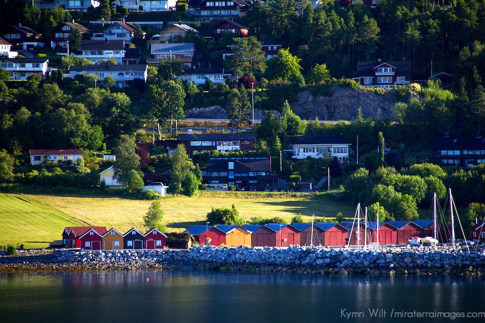 Europe, Norway, Molde. Boathouses of Molde.