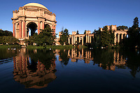 The Palace of Fine Arts in San Francisco is a building originally constructed for the 1915 Panama Pacific Exposition.  It was designed by Bernard Maybeck, who took his inspiration from Roman and Greek architecture.  A single dome remains from the eight identical structures that were originally constructed on the site.  The lagoon was intended to echo those found in classical settings in Europe, where the expanse of water provides a mirror surface to reflect the grand buildings and an undisturbed vista to appreciate them from a distance.