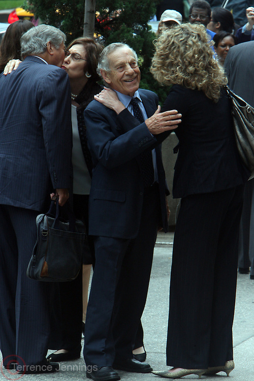 Morley Safer arrives at the Walter Cronkite funeral at The St. Bartholomew Church on July 23, 2009 in New York City