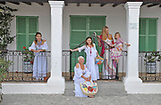 Portrait of a varied group of females dressed in Adlib ibizan clothes, Ibiza