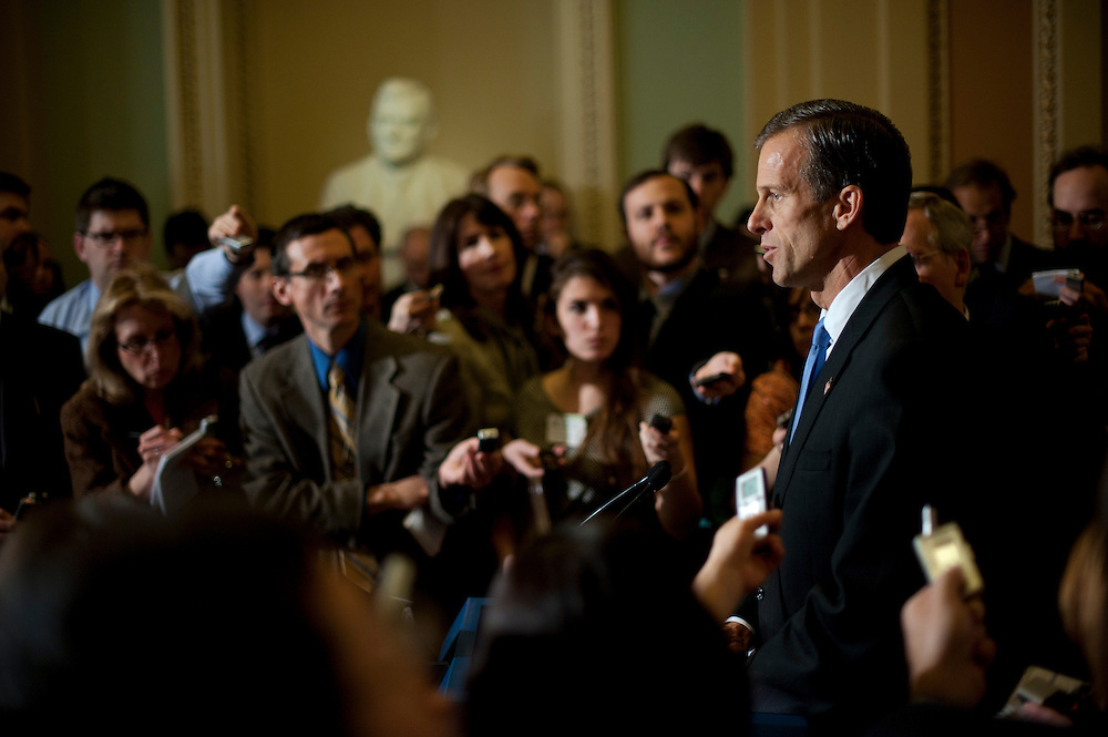 Senator JOHN THUNE (R-SD) speaks at a press conference outside of the Senate Chamber following the weekly party caucus lunches on Tuesday at the U.S. Capitol.