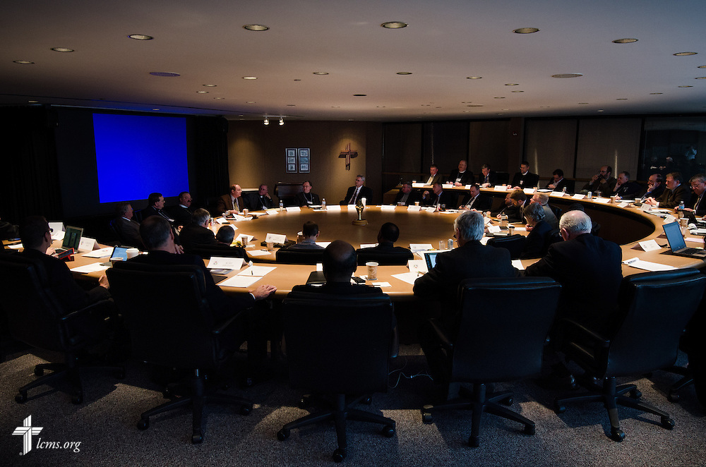 """Representatives from the Concordia University System schools, boards, and others meet during a """"Think Tank"""" at the International Center of The Lutheran Church--Missouri Synod on Monday, March 31, 2014, in Kirkwood, Mo. LCMS Communications/Erik M. Lunsford"""