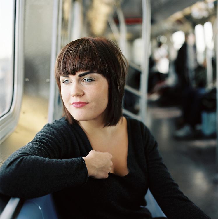 BROOKLYN - MAY 11 2011: Norwegian, singer songwriter Elise Vatsvaag on the F train in Brooklyn, New York.