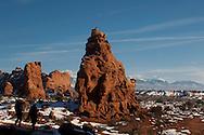 The Windows, Arches National Park. Utah, winter, tourists, raven
