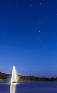 "The Big Dipper over water and a fountain at the Inn of the Mountain Gods, near Ruidoso, New Mexico, taken on March 22, 2015. This is a two-image ""panorama"" to include more of the water, each shot with the 24mm lens and Canon 60Da."