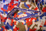Confetti lies on the floor after U.S. Presidential candidate Sam Brownback spoke during the Iowa State Straw Poll August 11, 2007 in Ames, Iowa..