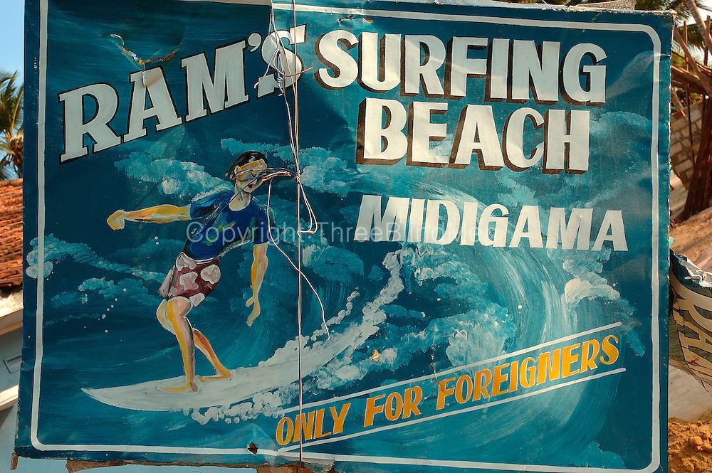 Rams Surfing Beach. Midigama. Sign broken by tsunami.